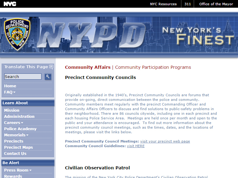 NYPD Precinct Community Councils