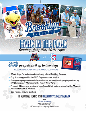 Bark in the Park - Sunday, July 15, 2018